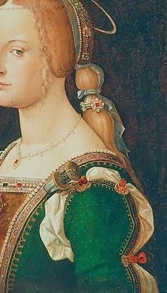 Bartolomeo Montagna (Italian, Vicentine, before - Saint Justina of Padua Renaissance Dresses, Renaissance Fashion, Italian Renaissance, Fashion Images, Fashion Art, Andrea Mantegna, Medieval Hairstyles, Renaissance Paintings, Abstract Drawings