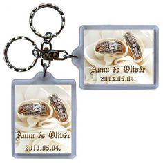 Műanyag alapú, fényképes kulcstartó esküvői köszönetajándék, násznépnek köszönő ajándék, vendégajándék esküvőre Personalized Items