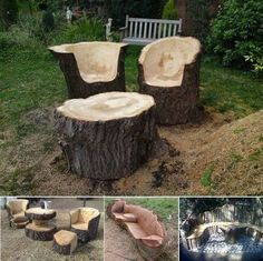 Stunning Tree Trunk Garden Furniture #garden #furniture