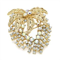vintage style gold crystal ladies womens fashion dress brooch | 14578 | £13.50