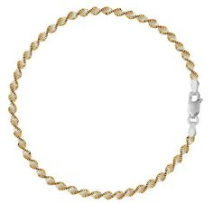 White And Yellow Singapore Style Chain Anklet In Sterling Silver >>> You can find out more details at the link of the image.