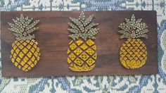 Pineapple String Art is made to order. Great for the pineapple lover in your life and looks great in your kitchen This item is 25x8 inches