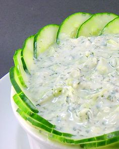 Cucumber dip --> love the way this is displayed!