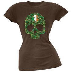 St. Patricks Day - Shamrock Skull Brown Soft Juniors T-Shirt
