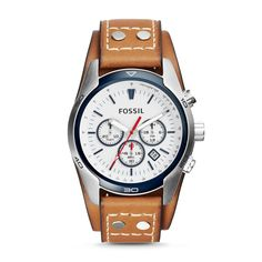 Fossil Coachman Chronograph Leather Watch – Light Brown