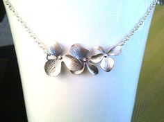 Dangling Triple Orchids Flowers Necklace 10 - bridesmaid gifts,Wedding jewelry,flower girl,anniversary gift. $22.00, via Etsy.