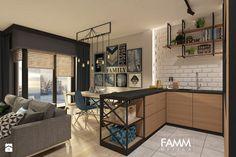 INDUSTRIAL NA MOKOTOWIE - Mała otwarta kuchnia w kształcie litery u w aneksie, styl skandynawski - zdjęcie od FAMM DESIGN