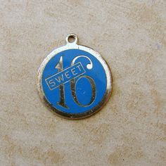 Vintage Sterling Silver Enamel Sweet 16 Birthday Blue Bracelet Charm #Charms