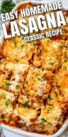 Homemade Lasagna is a classic, delicious dinner that every family should have in their recipe rotation. Tender sheets of pasta, a cheese filling, and a rich meaty tomato sauce make this the perfect meal! Homemade Lasagna Recipes, Lasagne Recipes, Beef Recipes, Italian Recipes, Cooking Recipes, Homemade Recipe, Salad Recipes, Lasagna Recipe With Ricotta, Classic Lasagna Recipe