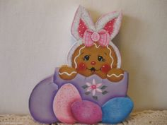HP Gingerbread Easter egg and bunny ginger Shelf Sitter hand painted  (ebay countreecorner US only)