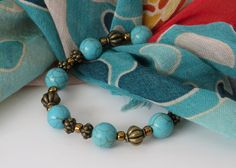 Howlite Bead Bracelet / Turquoise Colored by BeadablesBracelets
