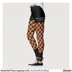 Basketball Team Leggings with Fake Black Shorts - These PERSONALIZED, unique, FUN leggings are decorated with repeating basketballs. Fake black shorts and socks complete the look. Personalized Team Name (2 lines) is on left side of shorts (or delete). Personalized white script NAME is near BOTTOM OF LEFT LEG. All Rights Reserved © 2016 Alan & Marcia Socolik.
