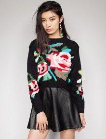 Crop rose sweater.