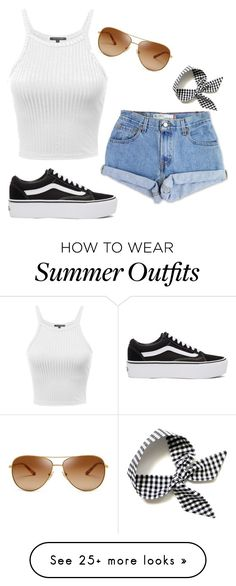 """summer outfits"" by gigimagbee on Polyvore featuring Levi's, Tory Burch and Vans"