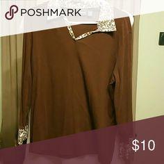 Brown shirt with fancy cuffs Brown shirt animal print cuffs and cllar bobbie brooks bobbie brooks Tops Blouses