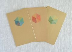 Embroidered Notebook  Colorful Patterned Hexagon by KotoDesigns