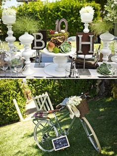 Love the letters and shabby chic-ness of the tables