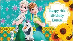 Custom Vinyl Frozen and Frozen Fever Movie Anna Elsa Birthday Party Banner Decorations with Child's Name