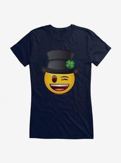 Emoji St. Patrick's Day Icons Wink Face Girls T-Shirt Emoji Shirt, T Shirt, Marie Aristocats, Smile Design, Pastel Tie Dye, Collar Top, Lilo And Stitch, Face, Mens Tops