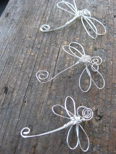 Crossley Design--Sterling silver wire wrapped dragonfly pendants