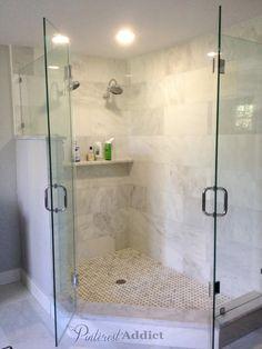 Stone Shower | Basket weave marble floor and marble shower shelf