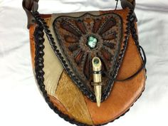 VINTAGE ONE OF A KIND HAND CRAFTED OSTRICH & LEATHER HIPPIE SHOULDER BAG PURSE  -- bid now while you still can!