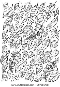 Hand draw doodle coloring page for adult. Autumn Leaves. Raster copy