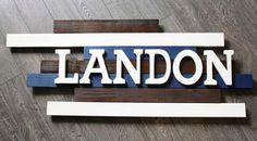 Landon Wooden Name Sign Wooden Nursery by CucumberAppleStudio