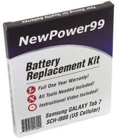 Samsung GALAXY Tab 7 SCHI800 US Cellular Battery Replacement Kit with Video Installation DVD Installation Tools and Extended Life Battery *** Details can be found by clicking on the image.