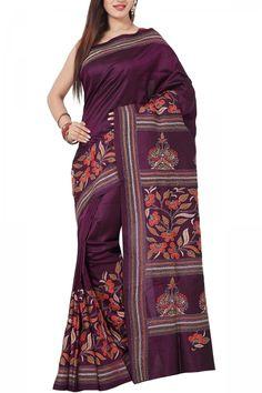 Dark Magenta & Multicolor Thread Kantha Soft Silk Saree