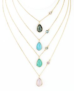 Double teardrop pendant necklace with the trendy colors of the season. Choose in order from top to bottom: Gray, Aqua (Limpet Shell), Mint, or Opal (Rose Quartz