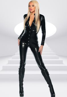 f0db40186a73 Fiona Sexy Catsuit - Long sleeved collared catsuit with front snap  fastening. Leather Jumpsuit