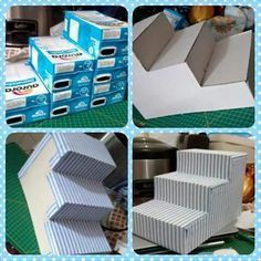 Utiliza cajas de leche para crear un bello exhibidor con forma de escalera que te servirá para lucir postres o bocadillos en un buffet o me. Craft Crea un exhibidor de postres usando cajas de leche Milk Box, Baby Shawer, Candy Table, Dessert Table, Candy Buffet Tables, Dessert Bars, Ideas Para Fiestas, Diy Cake, Diy Party