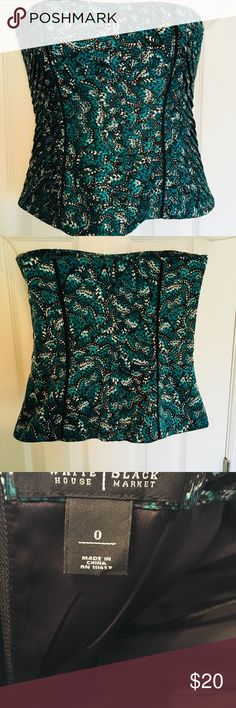 White House Black Market strapless top Aqua white and black butterfly printed top from White House Black Market. Worn once. Size zero. White House Black Market Tops Tank Tops