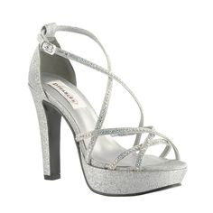 Taylor Dyeable White or Silver Rhinestone Prom Bridal High Heel Platform Shoes #Strappy