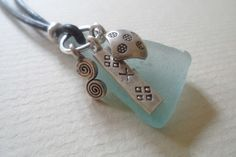 Sea Glass Multi Charm Hilltribe Silver Leather Surf Necklace OOAK Pale Blue £23.95