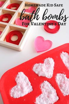 Bath Bomb Recipe With Kid Safe Ingredients For Valentine's Day   Heart Mold Easy Fizzy Homemade DIY   Cost Less to make, organic ingredilnts. Baking soda, citric acid, essential oils peppermint lavender. Silicon mold and safe food coloring.