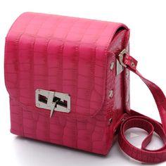 Fuschia Pink Croc Satchel