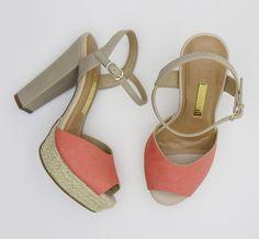Sandália de salto alto – heels – party shoes – cortiça – meia pata – coral - nude  – Verão 2016 - Ref. 15-10554