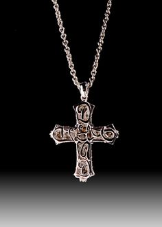 JPratt Designs: Custom created and designed back piece to the cross necklace holding the champagne diamond
