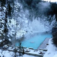 Jan 1 - Radium Hot Springs, British Columbia in winter.perfect way to end the day after skiing the bumps in Panorama The Places Youll Go, Great Places, Oh The Places You'll Go, Beautiful Places, Places To Visit, Canadian Travel, Canadian Rockies, Places To Travel, Travel Destinations