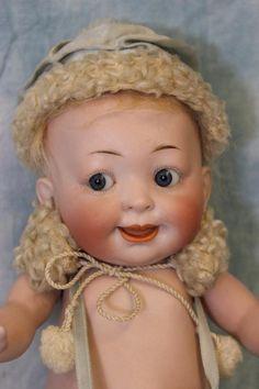 """c.1900 11"""" Hertel Schwab """"Our Fairy"""" 222 28 All Bisque GOOGLY Doll from turnofthecenturyantiques on Ruby Lane"""