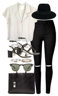 """Untitled #1768"" by sophiasstyle ❤ liked on Polyvore featuring Boohoo, agnès b., Valentino, Yves Saint Laurent, Ray-Ban and Maison Michel"
