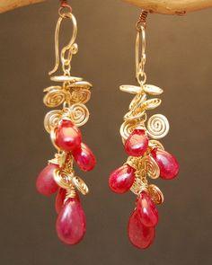 Venus 111 Hammered swirl earrings with Ruby by CalicoJunoJewelry, $120.00
