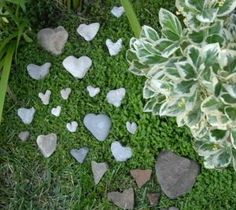 Collected Heart shaped Rocks from your Travels, to line a Garden Path....