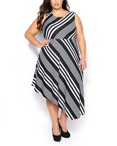 Penningtons Womens Plus Size Sleeveless Striped Asymmetric Dress >>> Insider's special review you can't miss. Read more  : Plus size dresses