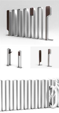 Inox steel system as a bike rack, an ashtray or a light bollard OMEGA-P BY NIGHT by CITYSI #metal