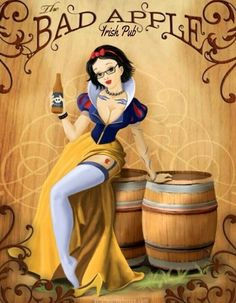 The Bad Apple started as an idea to make a pin-up style illustration of Snow White, and turned into a concept ad for a [fake as far as I know] pub. The Bad Apple Disney Pin Up, Disney Art, Disney Pixar, Disney Characters, Disney Parody, Disney Time, Dark Disney, Disney Magic, Snow White Disney