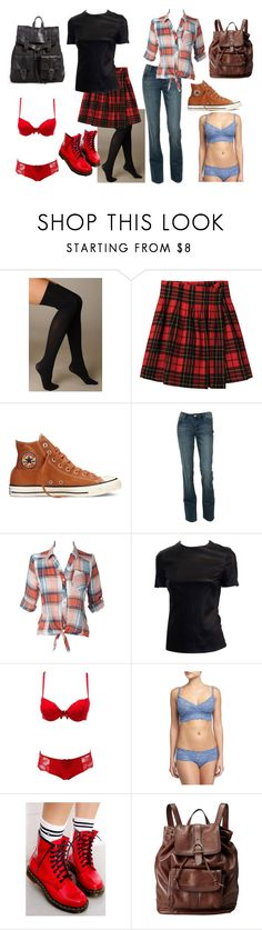 """""""Off to School"""" by ravenrebelle ❤ liked on Polyvore featuring Hue, Limi Feu, Converse, Charlotte Russe, Cosabella, Dr. Martens, FOSSIL and Proenza Schouler"""