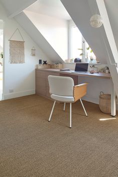 Sisal TIGRA, col beige doré, rouleau 4 m Sisal, Attic Ideas, Corner Desk, Sweet Home, New Homes, Carpet, Interiors, Beige, Chair
